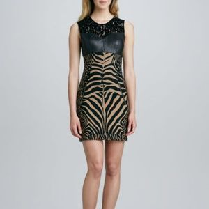 Tracy Reese Illusion Lace Leather Black/Tan  Dress